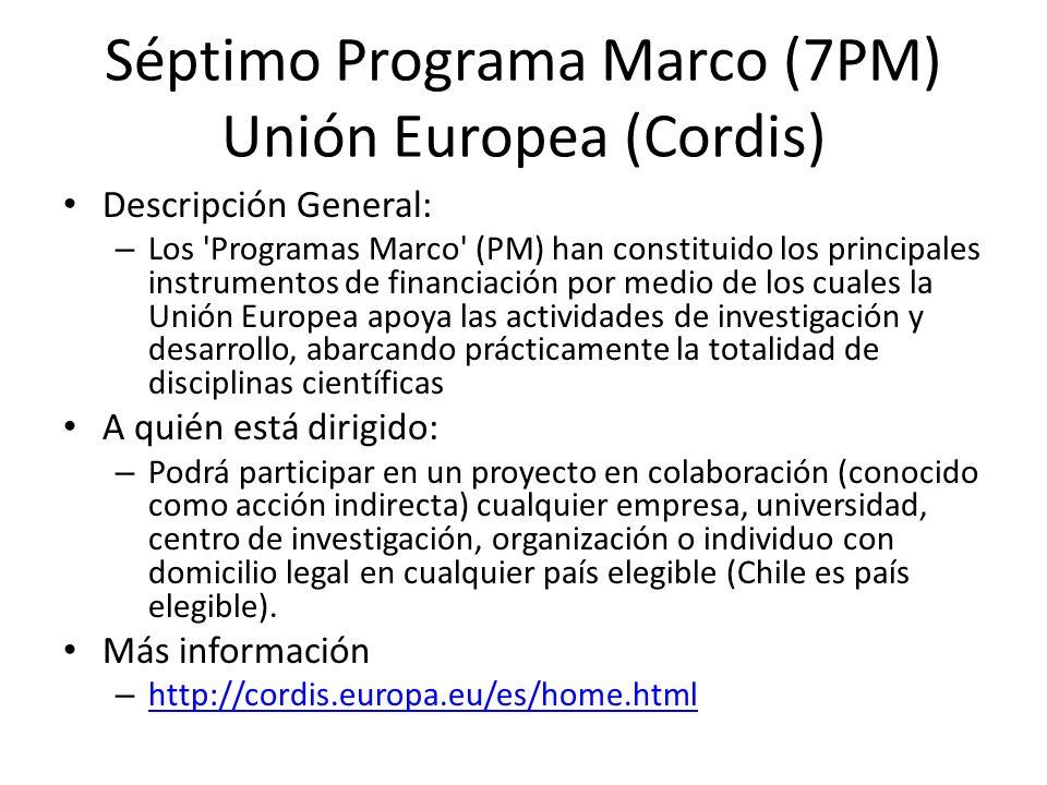 Séptimo Programa Marco (7PM) Unión Europea (Cordis)