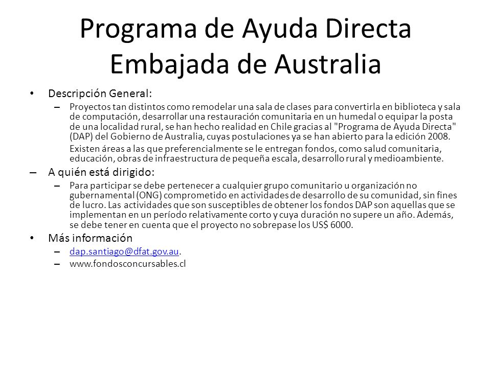 Programa de Ayuda Directa Embajada de Australia
