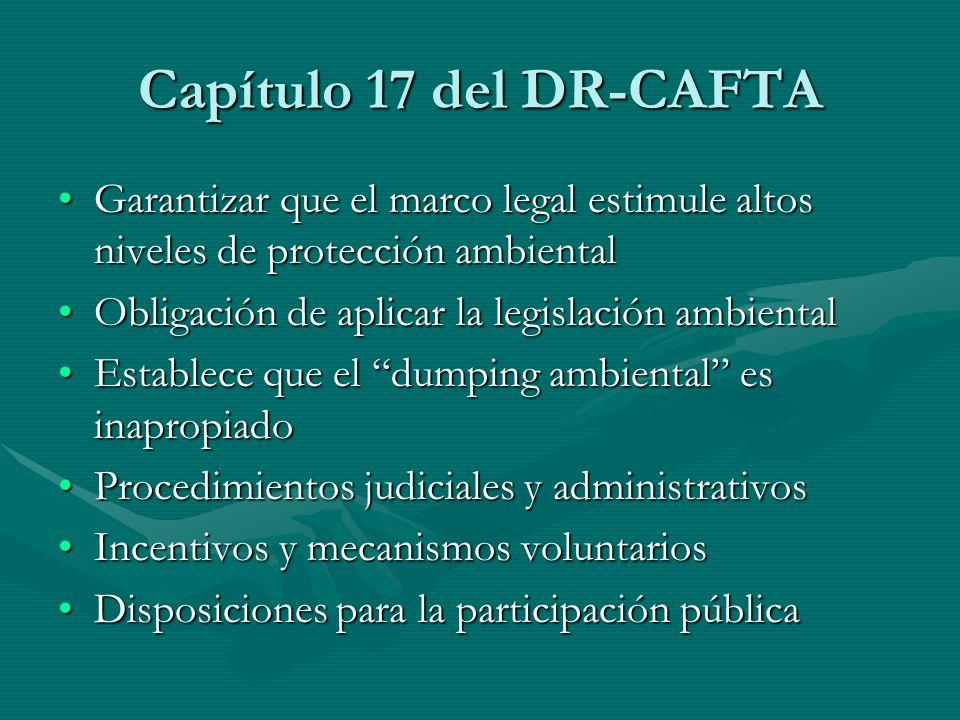 Capítulo 17 del DR-CAFTA Garantizar que el marco legal estimule altos niveles de protección ambiental.