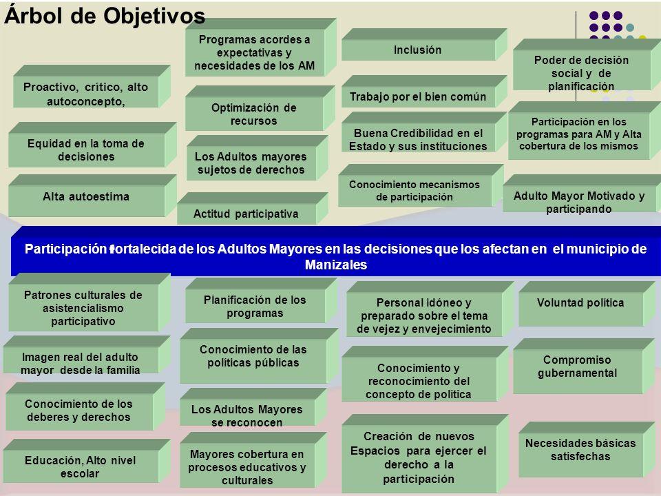 Árbol de Objetivos Programas acordes a expectativas y necesidades de los AM. Inclusión. Poder de decisión social y de planificación.