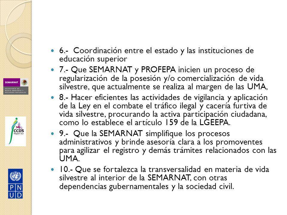 6.- Coordinación entre el estado y las instituciones de educación superior