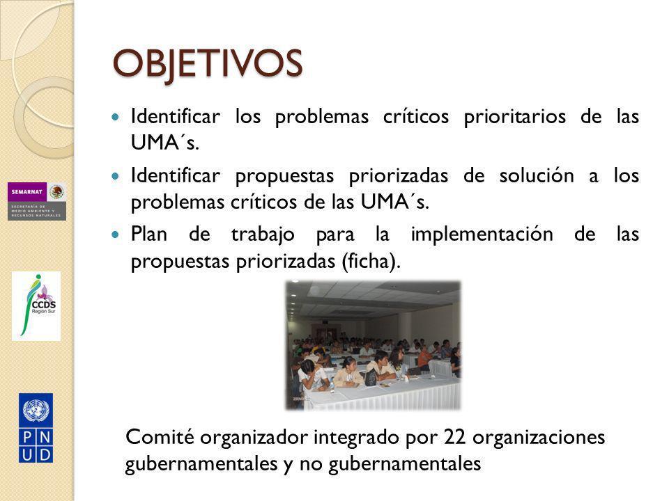 OBJETIVOS Identificar los problemas críticos prioritarios de las UMA´s.