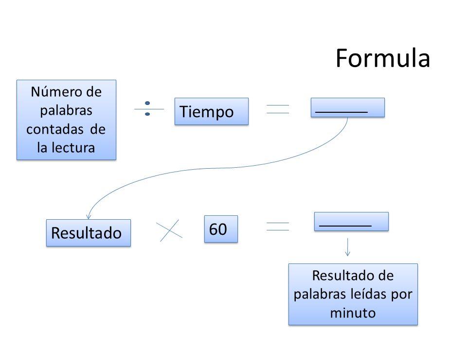 Formula Tiempo 60 Resultado Número de palabras contadas de la lectura