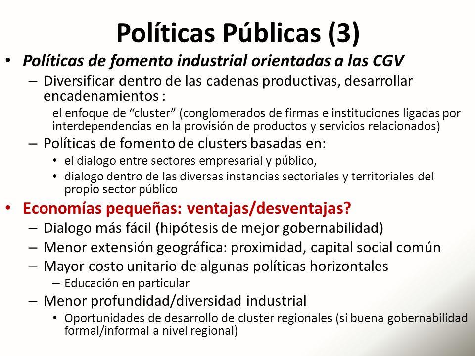 Políticas Públicas (3) Políticas de fomento industrial orientadas a las CGV.