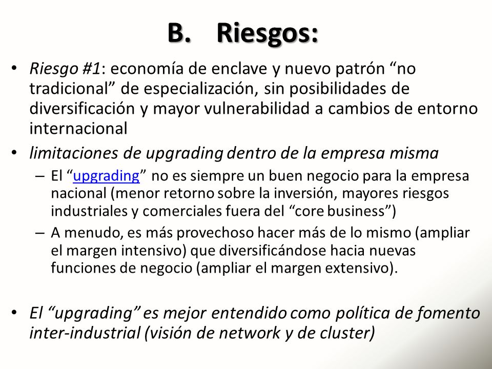 B. Riesgos: