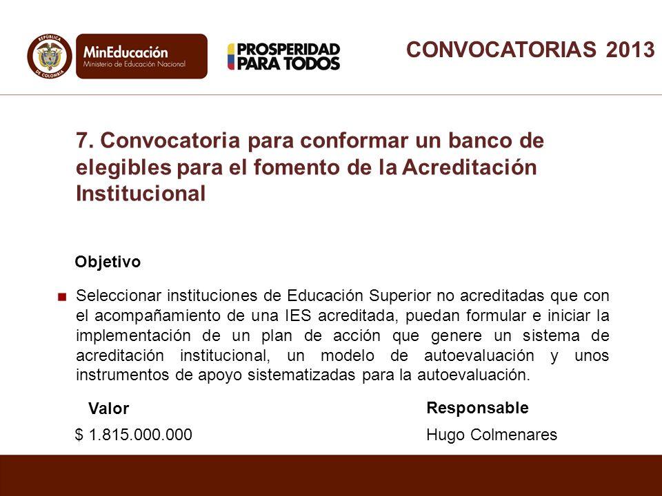 CONVOCATORIAS 2013 7. Convocatoria para conformar un banco de elegibles para el fomento de la Acreditación Institucional.