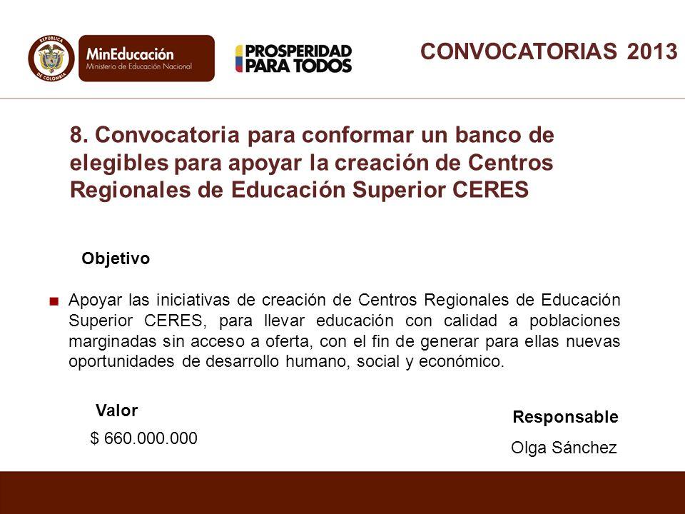 CONVOCATORIAS 2013 8. Convocatoria para conformar un banco de elegibles para apoyar la creación de Centros Regionales de Educación Superior CERES.
