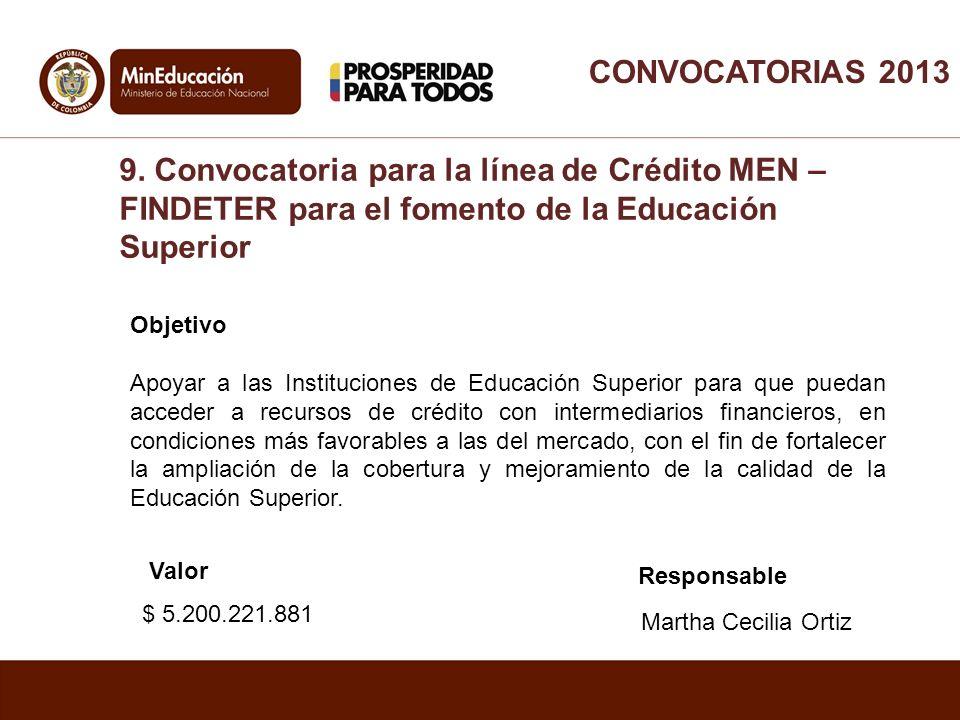 CONVOCATORIAS 2013 9. Convocatoria para la línea de Crédito MEN – FINDETER para el fomento de la Educación Superior.