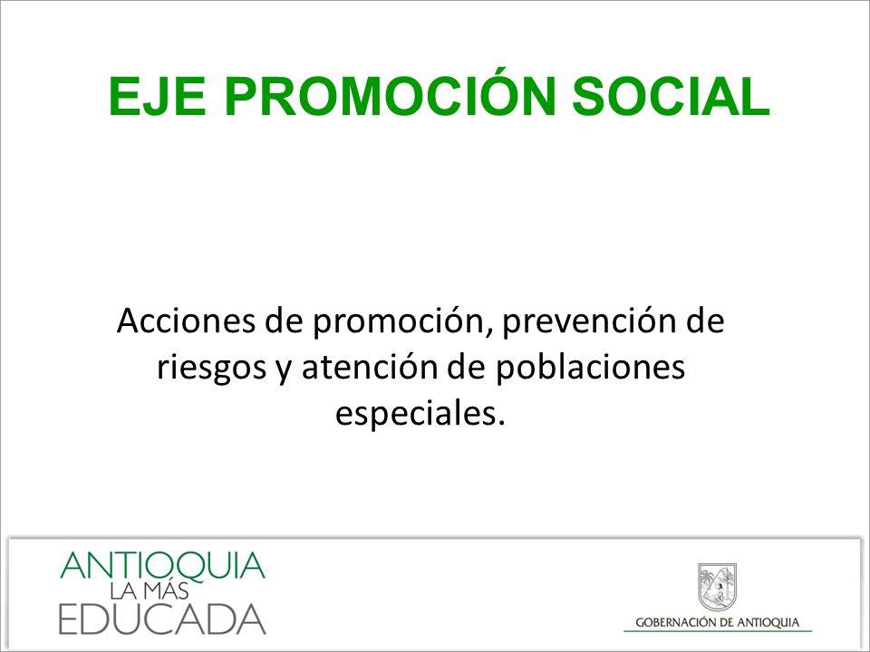 EJE PROMOCIÓN SOCIAL Acciones de promoción, prevención de riesgos y atención de poblaciones especiales.