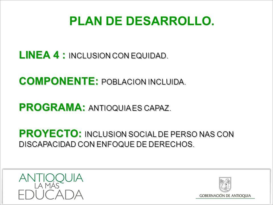 PLAN DE DESARROLLO. LINEA 4 : INCLUSION CON EQUIDAD.