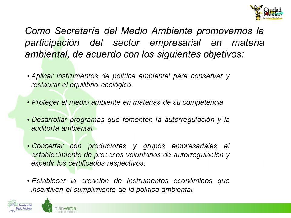 Como Secretaría del Medio Ambiente promovemos la participación del sector empresarial en materia ambiental, de acuerdo con los siguientes objetivos: