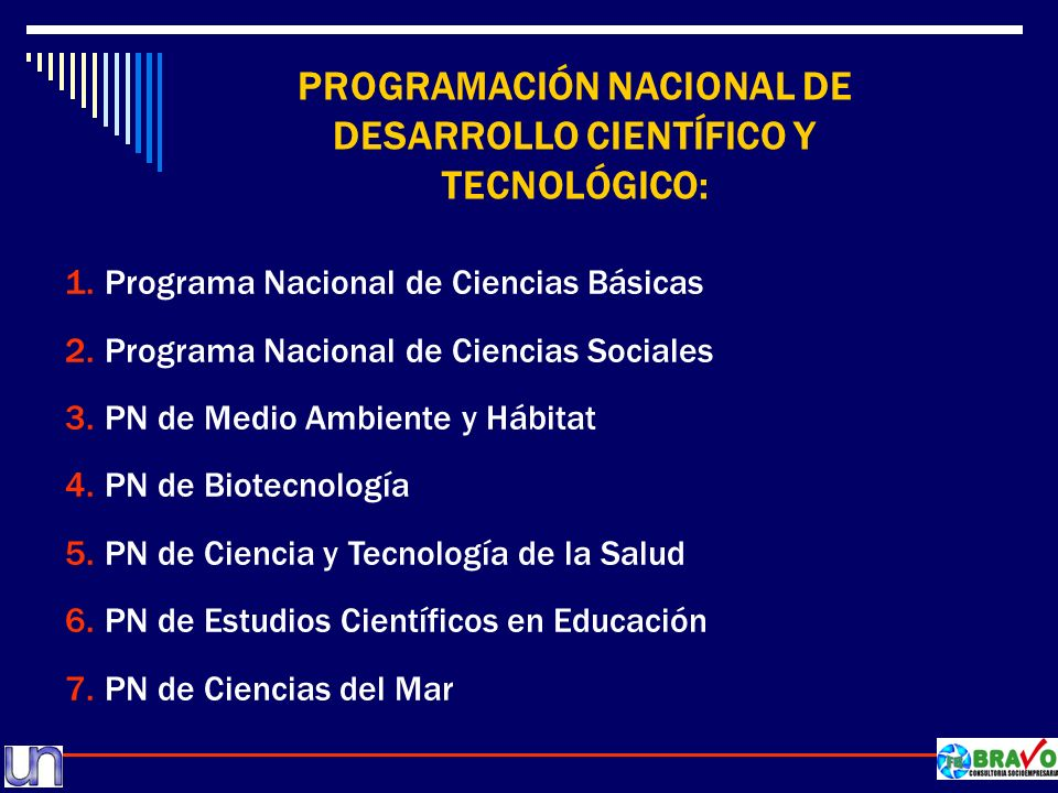 PROGRAMACIÓN NACIONAL DE DESARROLLO CIENTÍFICO Y TECNOLÓGICO: