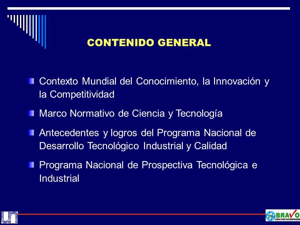 CONTENIDO GENERAL Contexto Mundial del Conocimiento, la Innovación y la Competitividad. Marco Normativo de Ciencia y Tecnología.