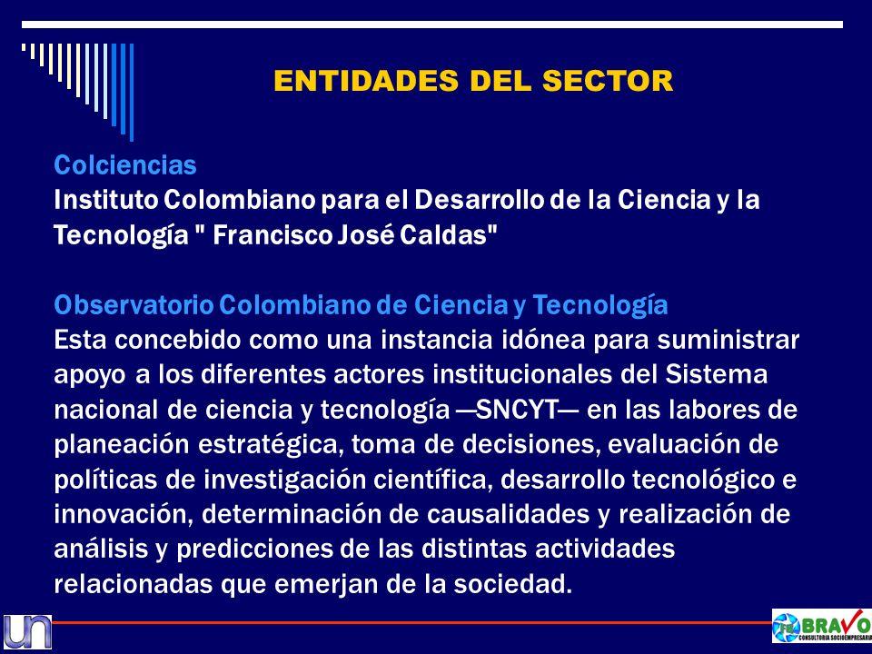 ENTIDADES DEL SECTOR Colciencias Instituto Colombiano para el Desarrollo de la Ciencia y la Tecnología Francisco José Caldas