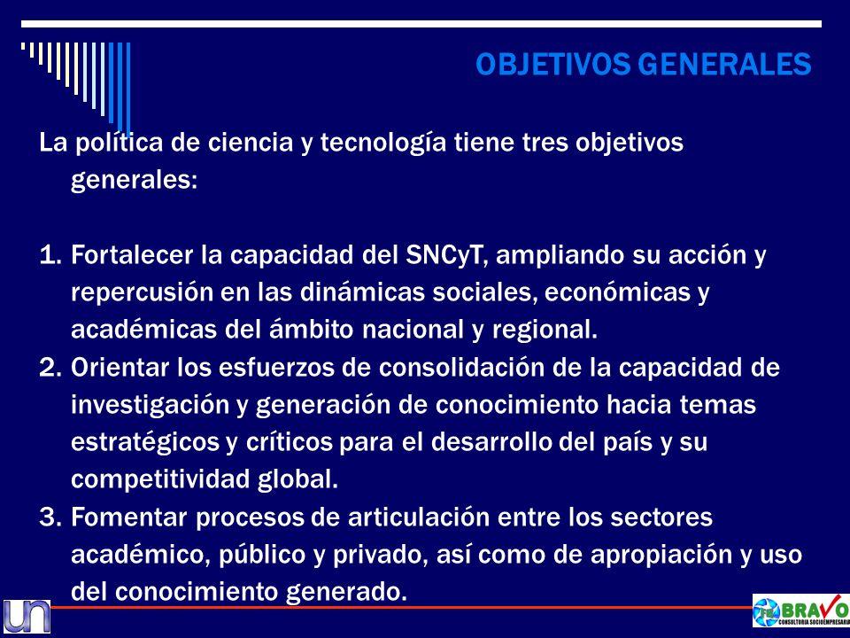 OBJETIVOS GENERALES La política de ciencia y tecnología tiene tres objetivos generales: