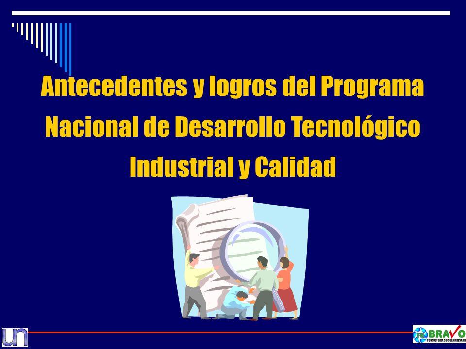 Antecedentes y logros del Programa Nacional de Desarrollo Tecnológico Industrial y Calidad