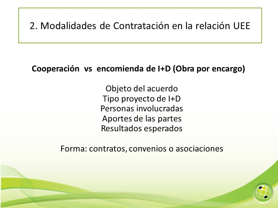2. Modalidades de Contratación en la relación UEE
