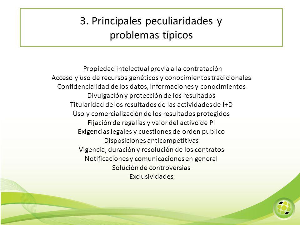 3. Principales peculiaridades y problemas típicos