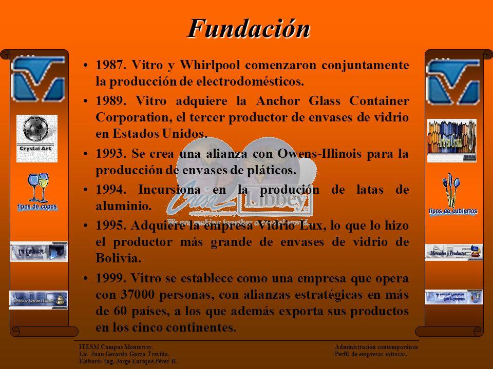 Fundación 1987. Vitro y Whirlpool comenzaron conjuntamente la producción de electrodomésticos.