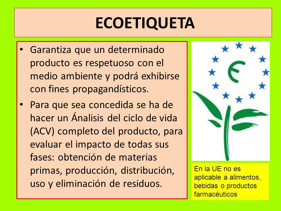 ECOETIQUETA Garantiza que un determinado producto es respetuoso con el medio ambiente y podrá exhibirse con fines propagandísticos.