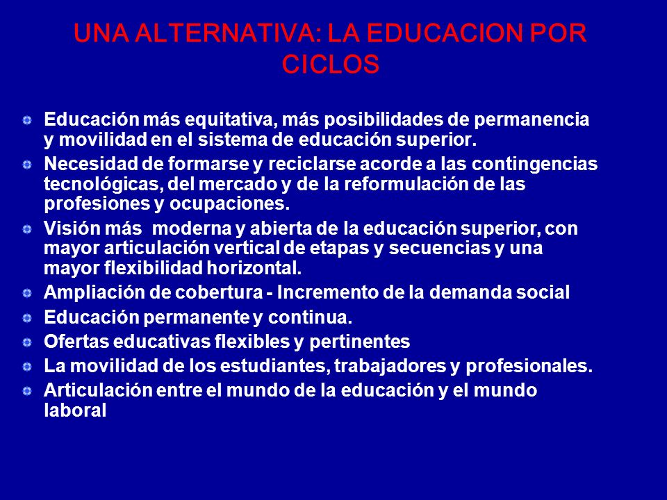 UNA ALTERNATIVA: LA EDUCACION POR CICLOS