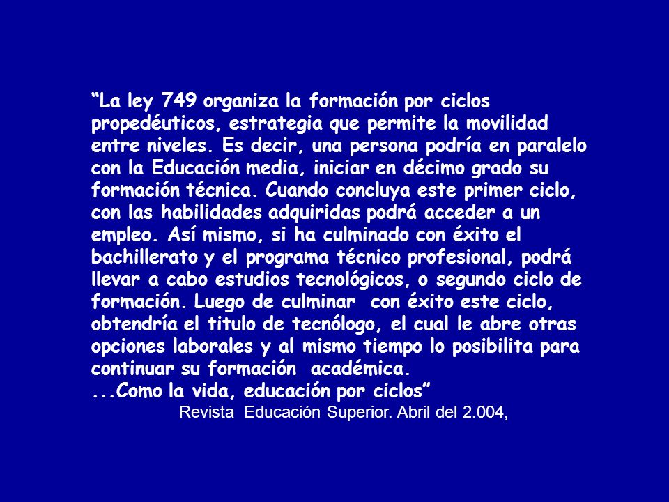 Revista Educación Superior. Abril del 2.004,