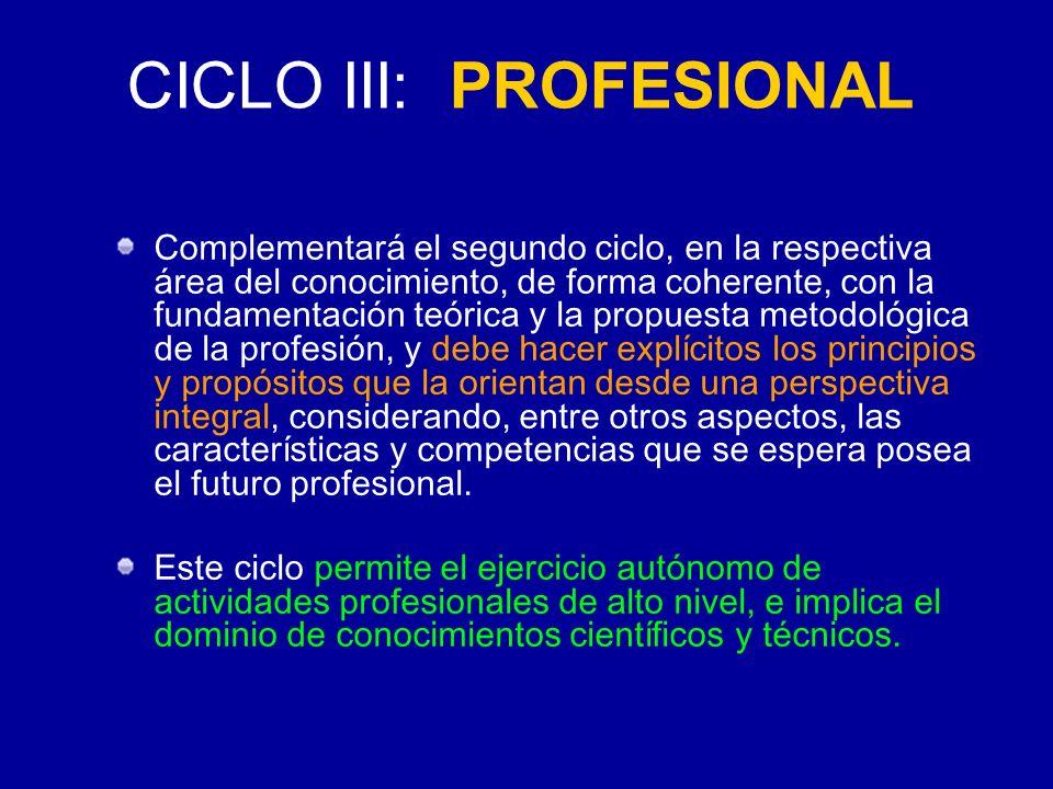 CICLO III: PROFESIONAL