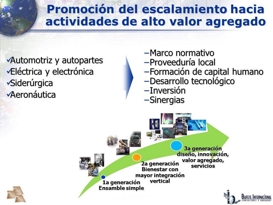 Promoción del escalamiento hacia actividades de alto valor agregado