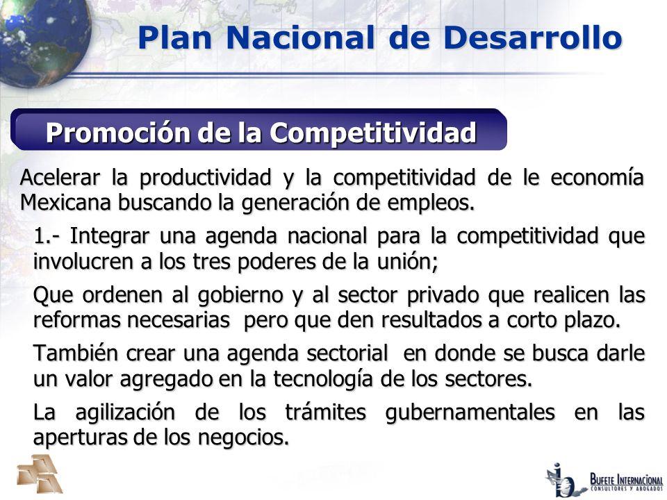 Plan Nacional de Desarrollo Promoción de la Competitividad