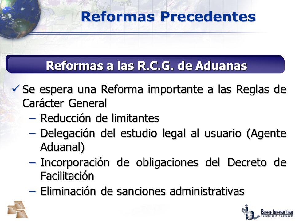 Reformas a las R.C.G. de Aduanas