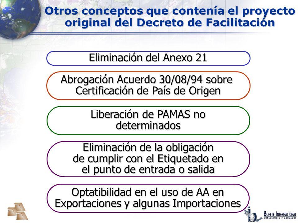 Abrogación Acuerdo 30/08/94 sobre Certificación de País de Origen