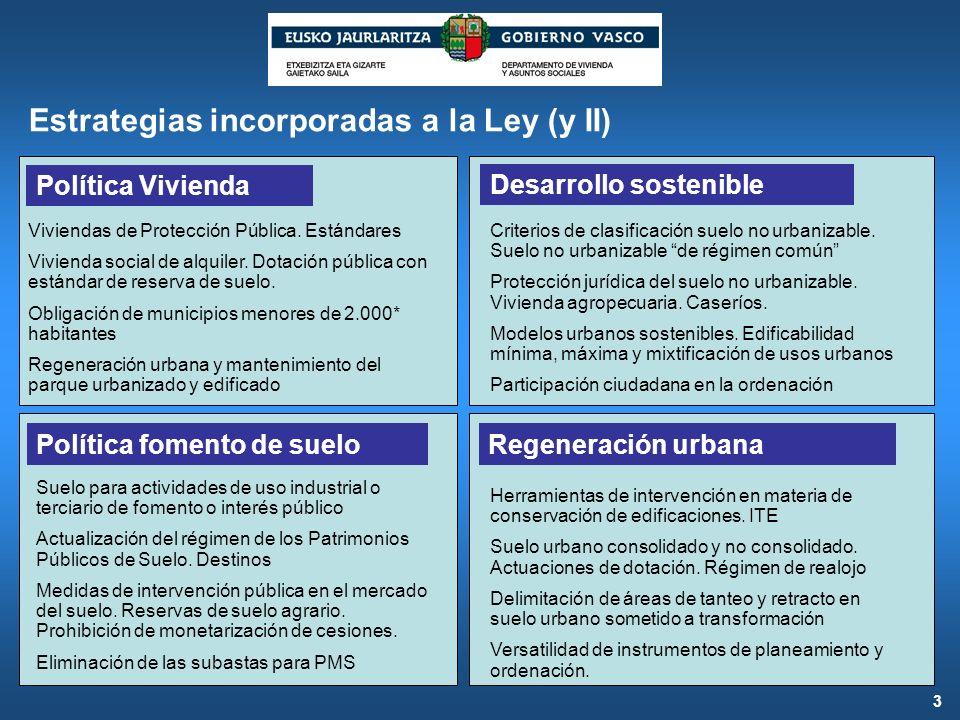 Estrategias incorporadas a la Ley (y II)