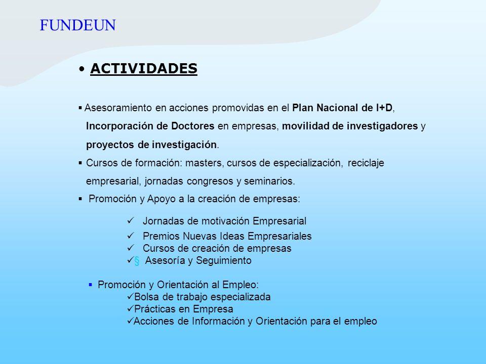 FUNDEUN ACTIVIDADES. Asesoramiento en acciones promovidas en el Plan Nacional de I+D,