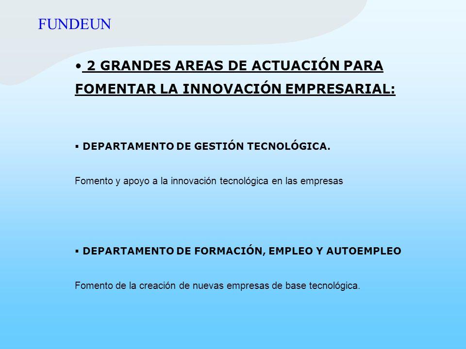 FUNDEUN 2 GRANDES AREAS DE ACTUACIÓN PARA FOMENTAR LA INNOVACIÓN EMPRESARIAL: DEPARTAMENTO DE GESTIÓN TECNOLÓGICA.