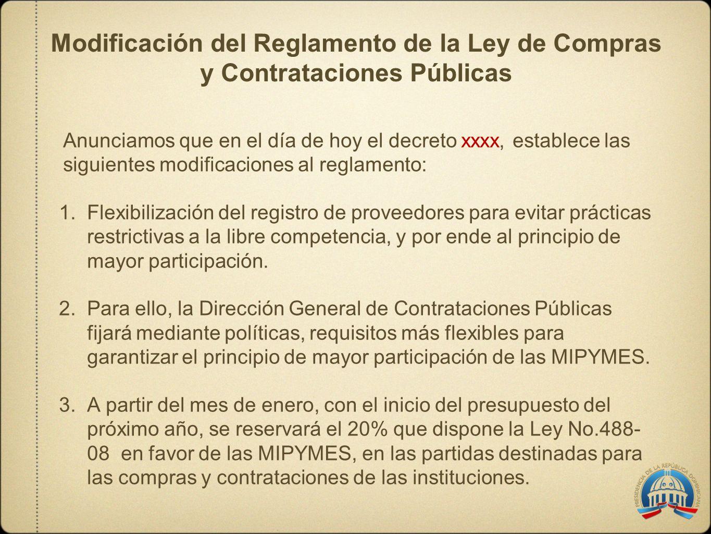 Modificación del Reglamento de la Ley de Compras y Contrataciones Públicas