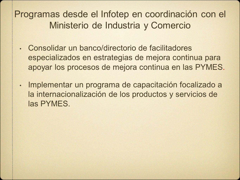 Programas desde el Infotep en coordinación con el Ministerio de Industria y Comercio