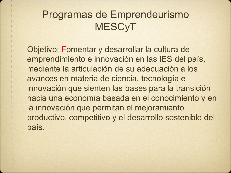Programas de Emprendeurismo MESCyT