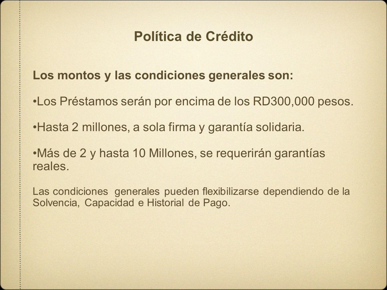 Política de Crédito Los montos y las condiciones generales son: