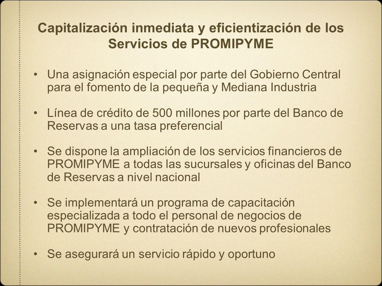 Capitalización inmediata y eficientización de los Servicios de PROMIPYME