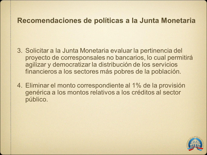 Recomendaciones de políticas a la Junta Monetaria