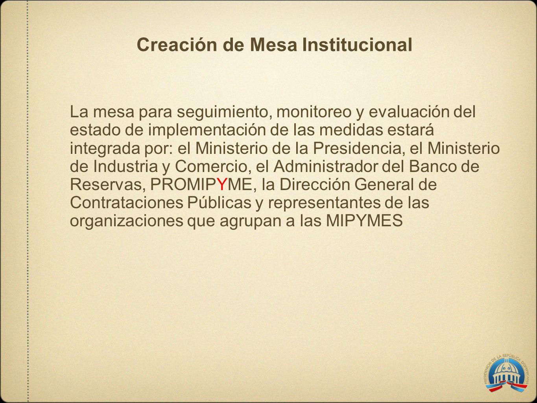 Creación de Mesa Institucional