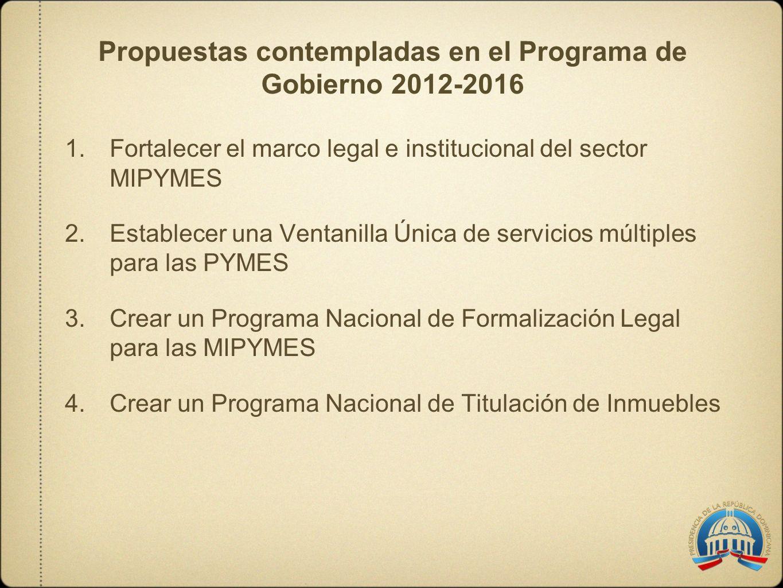 Propuestas contempladas en el Programa de Gobierno 2012-2016