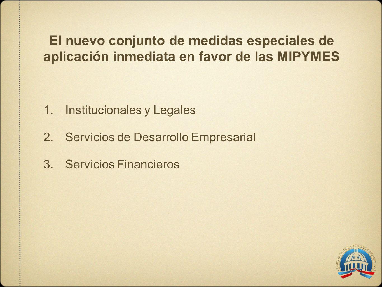 El nuevo conjunto de medidas especiales de aplicación inmediata en favor de las MIPYMES