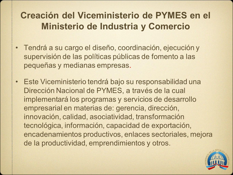 Creación del Viceministerio de PYMES en el Ministerio de Industria y Comercio