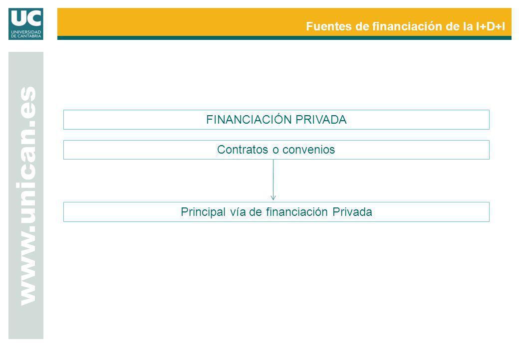 Principal vía de financiación Privada