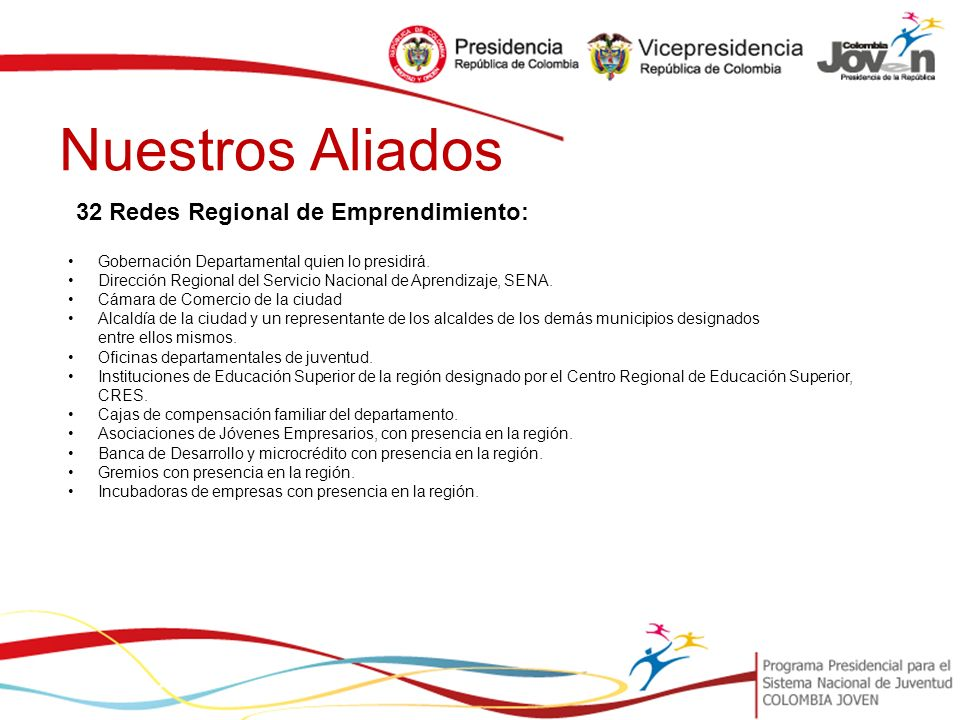 Nuestros Aliados 32 Redes Regional de Emprendimiento: