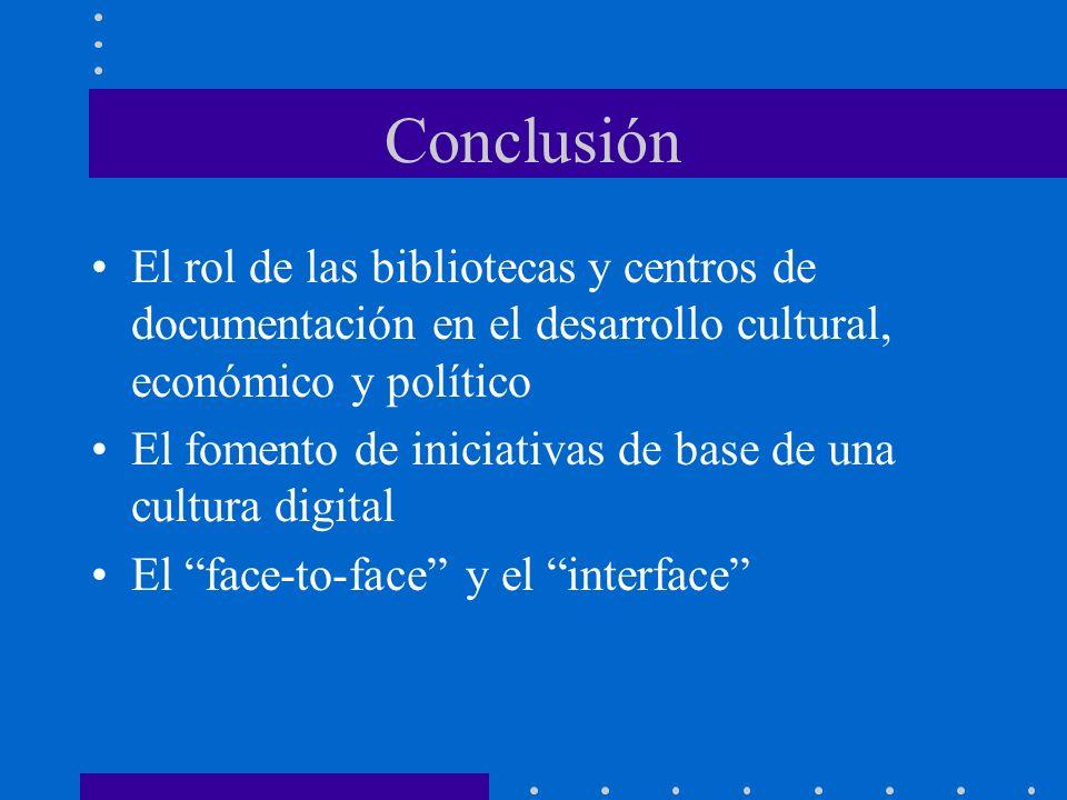 Conclusión El rol de las bibliotecas y centros de documentación en el desarrollo cultural, económico y político.