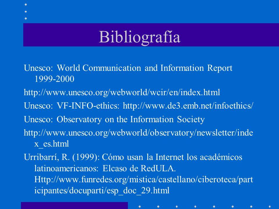 Bibliografía Unesco: World Communication and Information Report 1999-2000. http://www.unesco.org/webworld/wcir/en/index.html.