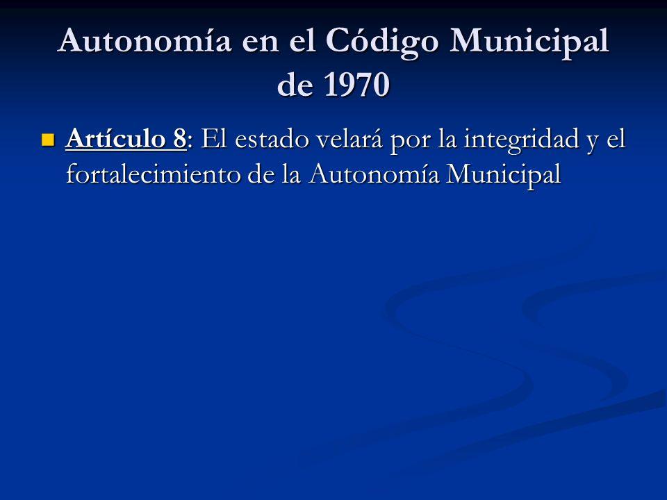Autonomía en el Código Municipal de 1970