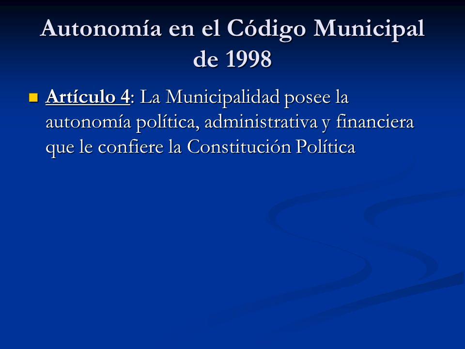 Autonomía en el Código Municipal de 1998